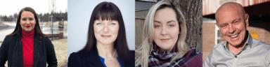 Candidates, L-R: Sarah Stoodley, Sheilagh O'Leary, Andrea Newbury, Damian Follett.